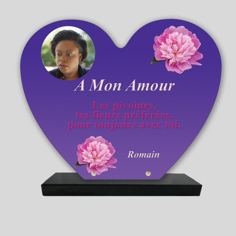 Plaque funéraire Cœur personnalisée - Roses dessinées - sur socle en granit