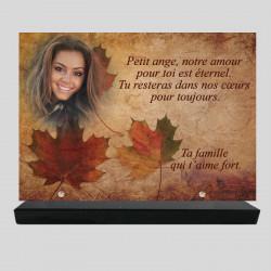 Plaque funéraire personnalisée Rectangle - Décor feuilles d'automne - sur socle en granit