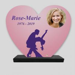 Plaque funéraire personnalisée Cœur - Danse - sur socle en granit