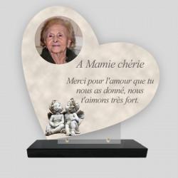 Plaque funéraire personnalisée Cœur - Angelot - sur socle en granit