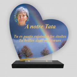 Plaque funéraire personnalisée Cœur - Arc-en-Ciel - sur socle en granit