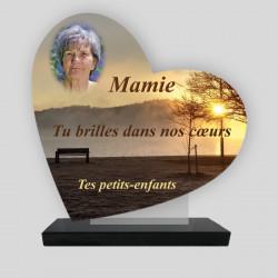 Plaque funéraire personnalisée Cœur- Coucher de soleil avec Banc - sur socle en granit