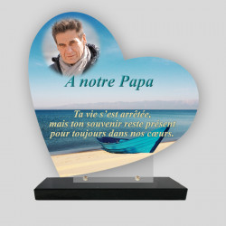 Plaque funéraire personnalisée Cœur - Barque bleu Sur Sable - sur socle en granit