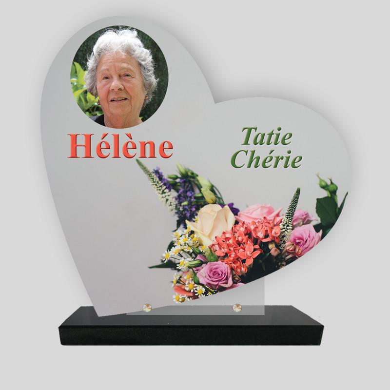 Plaque funéraire personnalisée Cœur - Bouquet de Fleurs - sur socle en granit