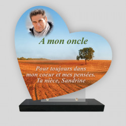 Plaque funéraire personnalisée Cœur  - Champs - sur socle en granit