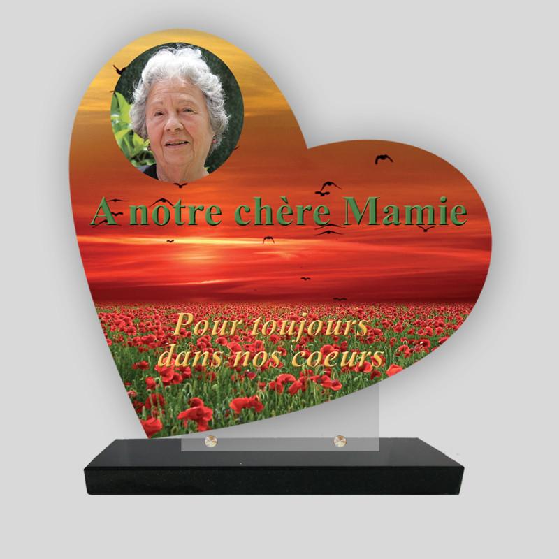 Plaque funéraire personnalisée Cœur - Champs de coquelicots - sur socle en granit