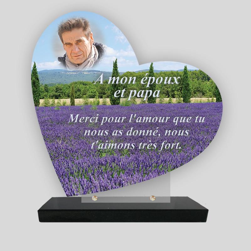 Plaque funéraire personnalisée Cœur  - Champs de lavandes - sur socle en granit