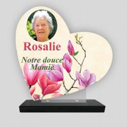 Plaque funéraire personnalisée Cœur -  Décor fleur de magnolias - sur socle en granit