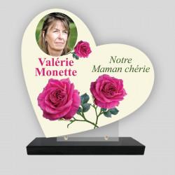 Plaque funéraire personnalisée Cœur - Décor de roses - sur socle en granit