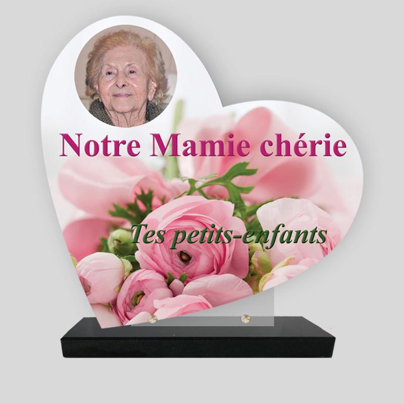 Plaque funéraire personnalisée Cœur - bouquets de roses - sur socle granit