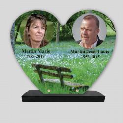 Plaque funéraire personnalisée 2 photos - Banc - sur socle en granit