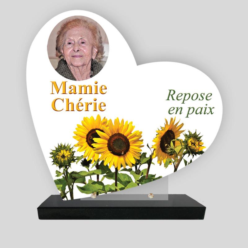Plaque funéraire personnalisée Cœur - Décor tulipes jaunes