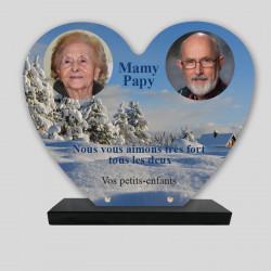 Plaque funéraire personnalisée 2 photos - Chalet enneigé - sur socle en granit