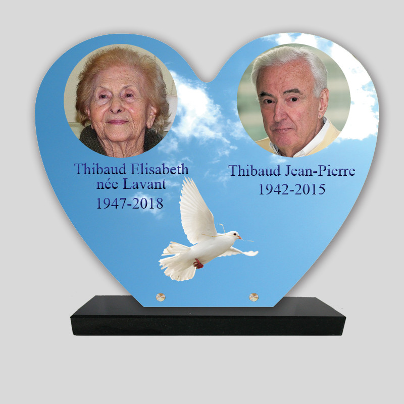 Plaque funéraire personnalisée 2 photos - Colombe dans le ciel - sur socle en granit