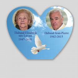 Plaque funéraire personnalisée 2 photos - Colombe dans le ciel