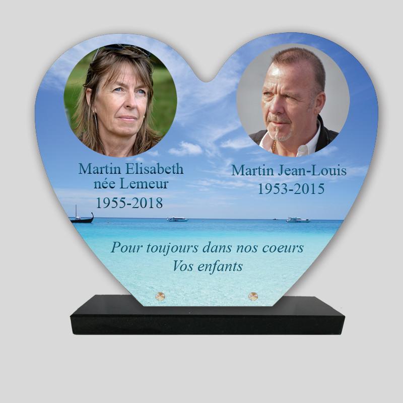Plaque funéraire personnalisée cœur 2 photos - Paysage de mer bleue - sur socle en granit